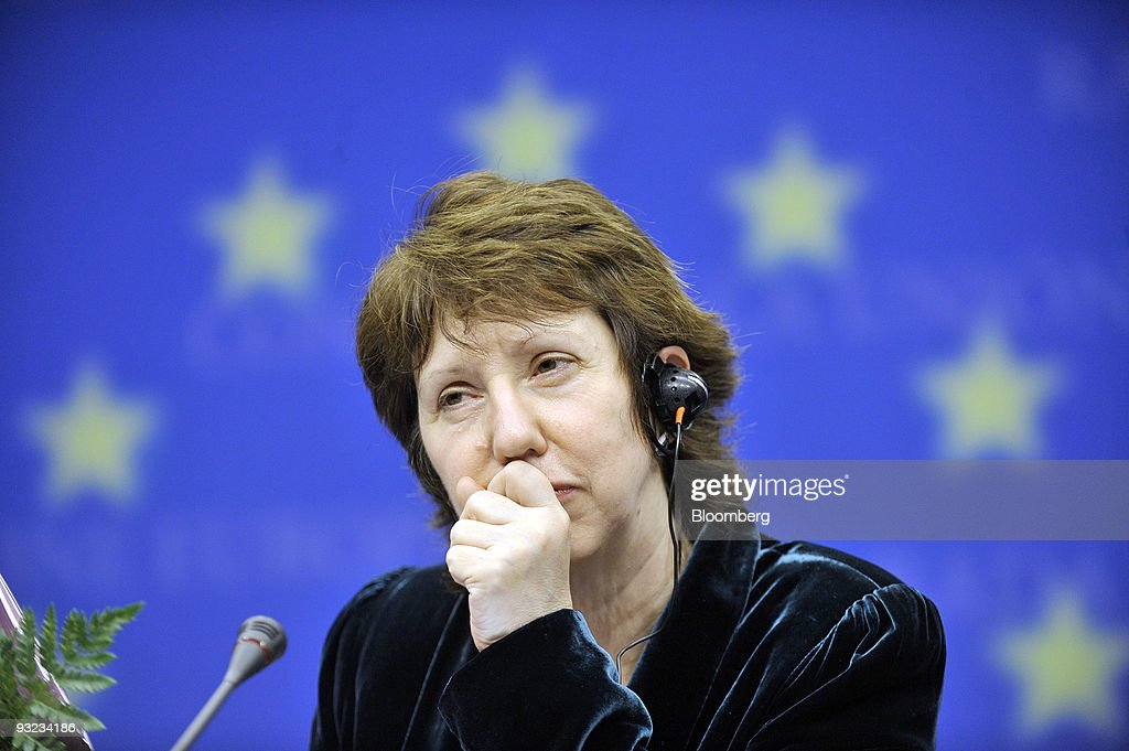 Catherine Ashton, Europe's new foreign minister, listens during the press conference following the European Union Summit at the EU headquarters in Brussels, Belgium, on Thursday, Nov. 19, 2009. European Union leaders named Belgian Prime Minister Herman Van Rompuy as the first president of the 27-nation bloc and Ashton as chief diplomat, appointing a team unlikely to overshadow national governments. Photographer: Jock Fistick/Bloomberg via Getty Images