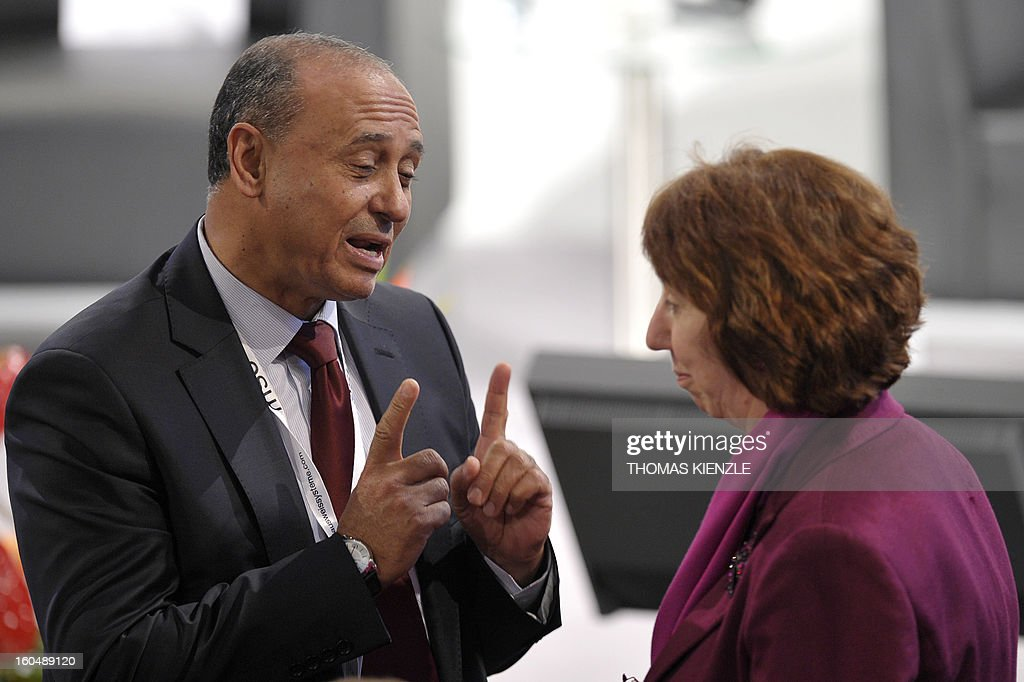 Catherine Ashton (R), foreign minister of the European Union, talks with Mohamed Abdul Aziz, foreign minister of Libya during the Munich Security Conference on February 1, 2013 in Munich, southern Germany. High-level officials, ministers and top military brass gathered at the Munich Security Conference Friday with Syria in the spotlight and amid a US warning to Iran over stalled nuclear talks.