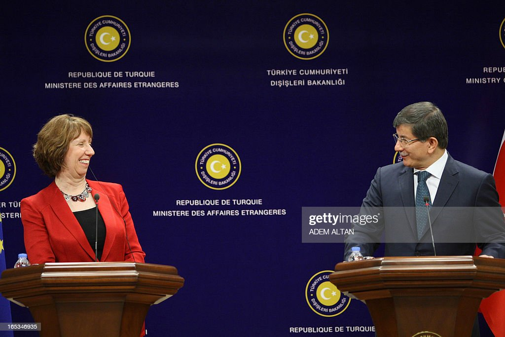 Catherine Ashton, the EU's foreign affairs chief, (L) and Turkish Foreign Minister Ahmet Davutoglu give a press conference in Ankara, on April 3, 2013.