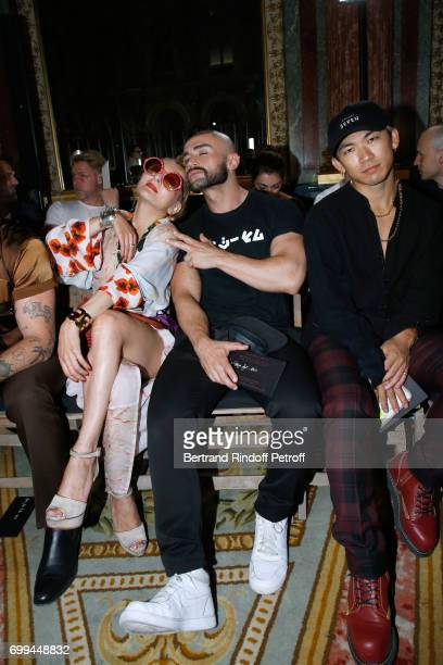 Catherine Baba actor Francois Sagat and dancer Naoto Kataoka attend the Haider Ackermann Menswear Spring/Summer 2018 show as part of Paris Fashion...