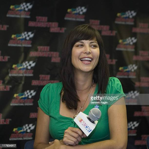 Catherine Bell Grand Marshall of the Autism 400 prior to the start of the NASCAR NEXTEL Cup Series Autism Speaks 400 June 03 Dover International...
