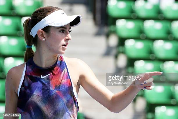 Catherine Bellis of the United States 1st set celebrate defeating Anastasia Pavlyuchenkova of Russia during day two of the Toray Pan Pacific Open...