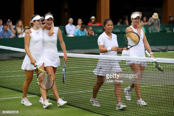 Catherine Bellis of The United States and Marketa Vondrousova of the Czech Republic celebrate victory after the Ladies Doubles first round match...