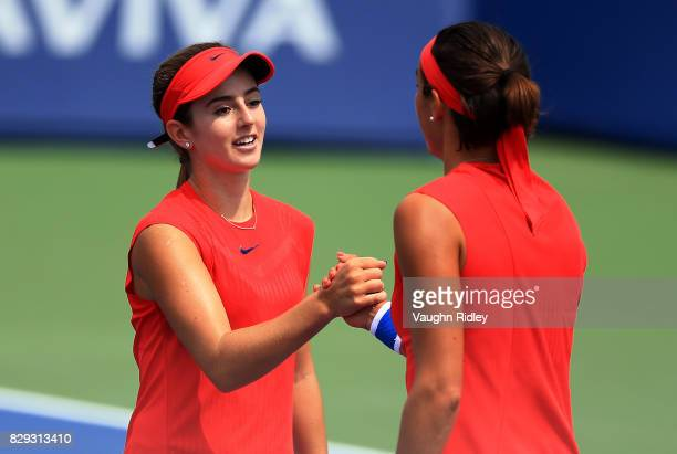 Catherine Bellis of the United States congratulates Caroline Garcia of France during Day 6 of the Rogers Cup at Aviva Centre on August 10 2017 in...