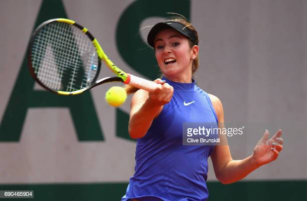Catherine Bellis of The United States plays a forehand during the ladies singles second round match against Kiki Bertens of The Netherlands on day...