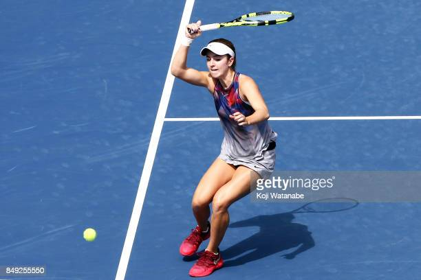 Catherine Bellis of the United States plays a forehand in her match against Anastasia Pavlyuchenkova of Russia during day two of the Toray Pan...