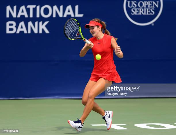 Catherine Bellis of the United States plays a shot against Caroline Garcia of France during Day 6 of the Rogers Cup at Aviva Centre on August 10 2017...