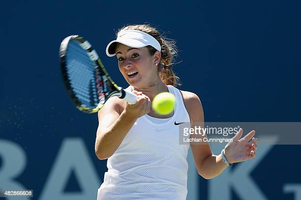 Catherine Bellis of the United States plays against Misaki Doi of Japan during day one of the Bank of the West Classic at the Stanford University...