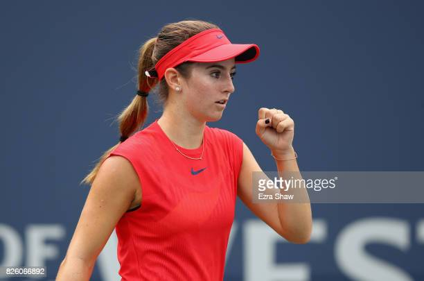 Catherine Bellis of the United States reacts during her match against Veronica Cepede Royg of Paraguay during Day 4 of the Bank of the West Classic...
