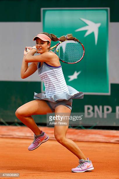 Catherine Bellis of the United States returns a shot in her girl's singles match against Greet Minnen of Belgium n day nine of the 2015 French Open...