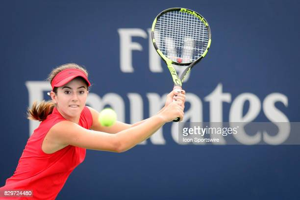 Catherine Bellis of the United States returns the ball during her third round match of the 2017 Rogers Cup tennis tournament on August 9 at Aviva...