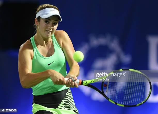 Catherine Bellis of United States plays a backhand during her match against Agnieszka Radwanska of Poland on day four of the WTA Dubai Duty Free...