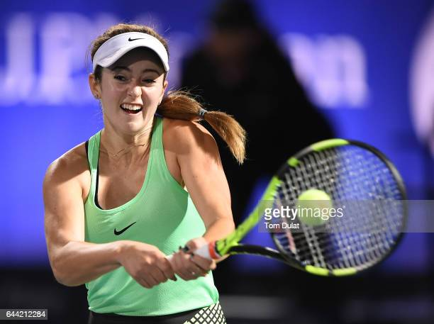 Catherine Bellis of United States plays a backhand during her quarter final match against Caroline Wozniacki of Denmark on day five of the WTA Dubai...