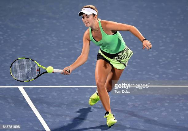 Catherine Bellis of United States plays a forehand during her match against Agnieszka Radwanska of Poland on day four of the WTA Dubai Duty Free...