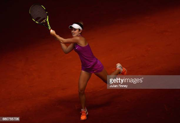 Catherine Bellis of USA in action against Sorana Cirstea of Romania during day four of the Mutua Madrid Open tennis at La Caja Magica on May 9 2017...