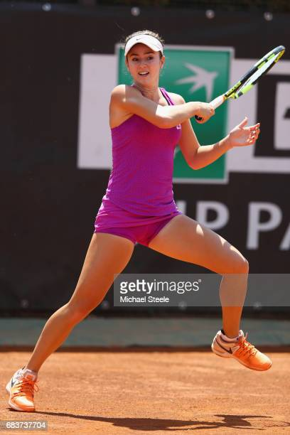 Catherine Bellis of USA in action during her first round match against Misaki Doi of Japan on Day Three of The Internazionali BNL d'Italia 2017 at...