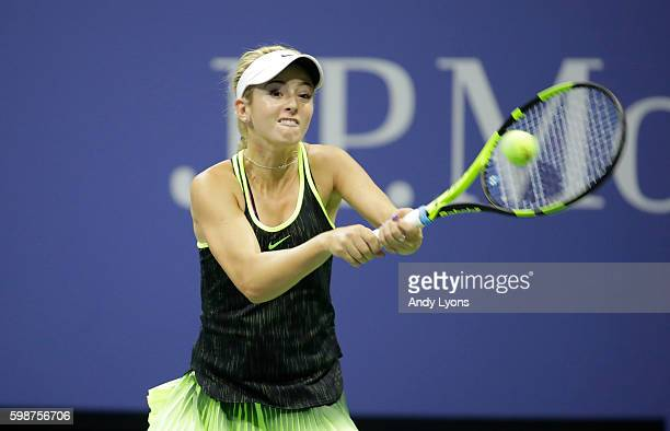 Catherine Bellis of USA plays a backhand during her third round match against Angelique Kerber of Germany on Day Five of the 2016 US Open at the USTA...