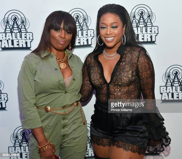 Catherine Brewton and Trina attend Baller Alert's Bowl With a a Baller at Basement Bowl on October 5 2017 in Miami Florida