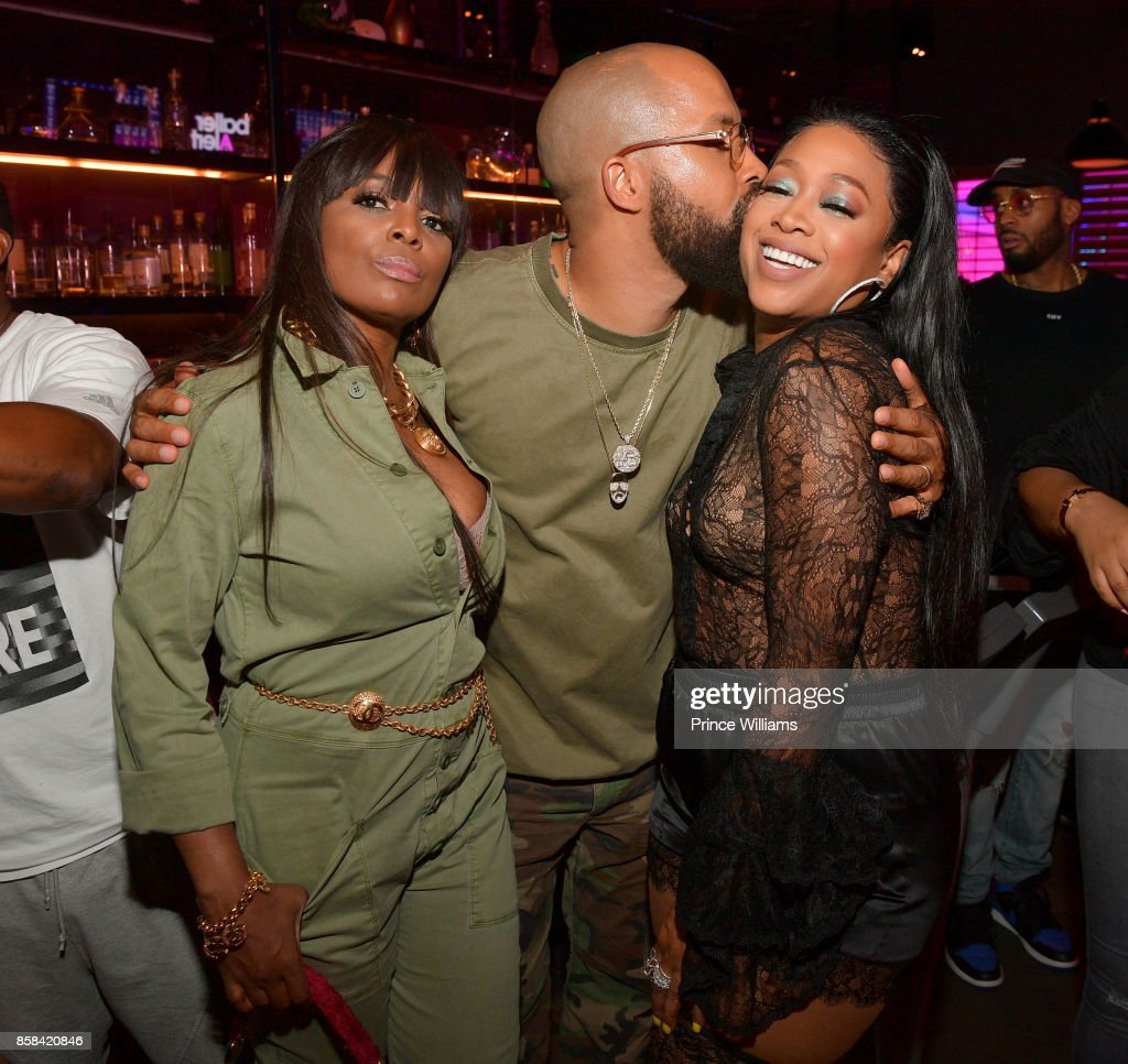 Catherine Brewton, Kenny Burns an Trina attend Baller Alert's Bowl With a Baller at Basement Bowl on October 5, 2017 in Miami, Florida.
