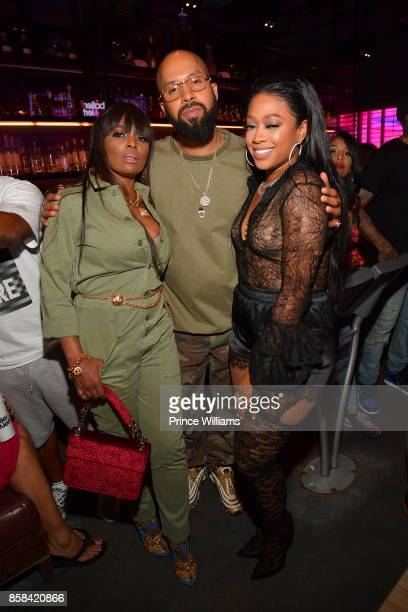 Catherine Brewton Kenny Burns an Trina attend Baller Alert's Bowl With a Baller at Basement Bowl on October 5 2017 in Miami Florida