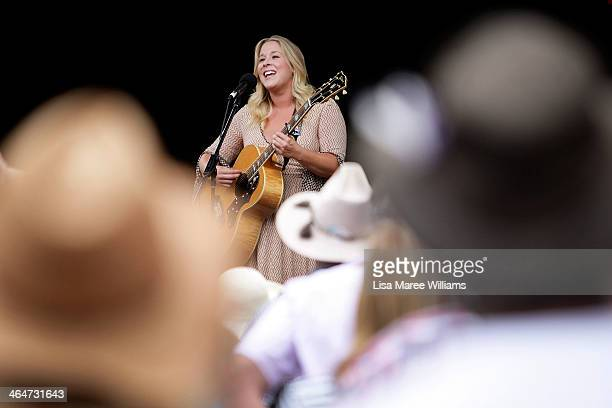 Catherine Britt performs on the main on Peel Street during the 42nd Tamworth Coutry Music Festival on January 24 2014 in Tamworth Australia The...