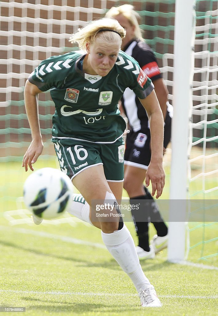 Catherine Brown of Canberra United chases down a loose ball during the round eight W-League match between Canberra United and the Newcastle Jets at Deakin Football Stadium on December 8, 2012 in Canberra, Australia.