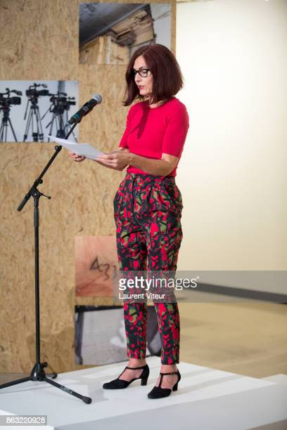 Catherine Brun reads 'Tombeau pour Cinq Cent Mille Soldats' for 50th anniversary of the book at Azzedine Alaia Gallery on October 19 2017 in Paris...