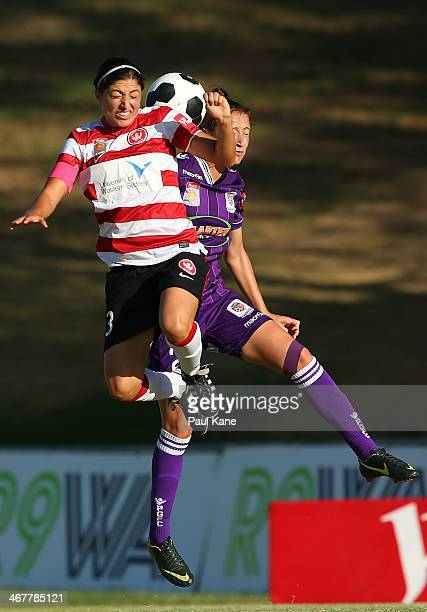 Catherine Cannuli of the Wanderers and Sarah Carroll of the Glory contest for the ball during the round 12 WLeague match between the Perth Glory and...