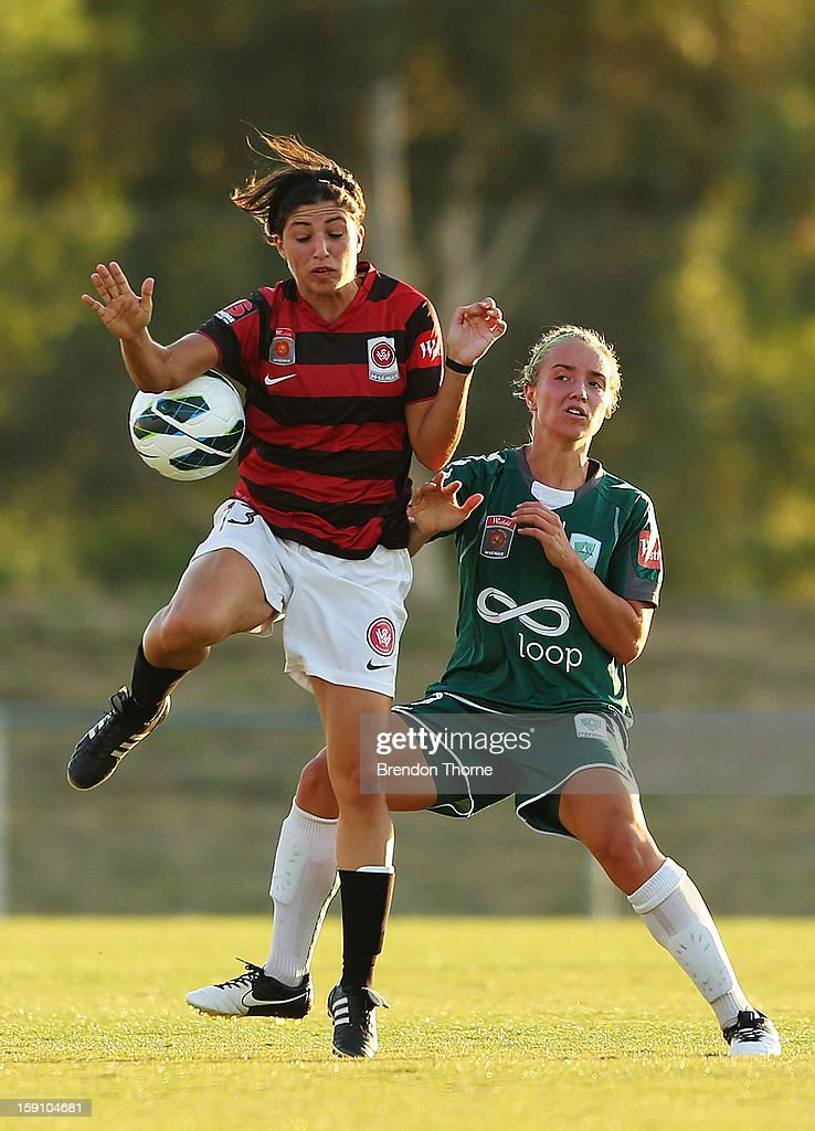 Catherine Cannuli of the Wanderers competes with Georgia Yeoman-Dale of Canberra during the round 11 W-League match between Canberra United and the Western Sydney Wanderers at McKellar Park on January 8, 2013 in Canberra, Australia.