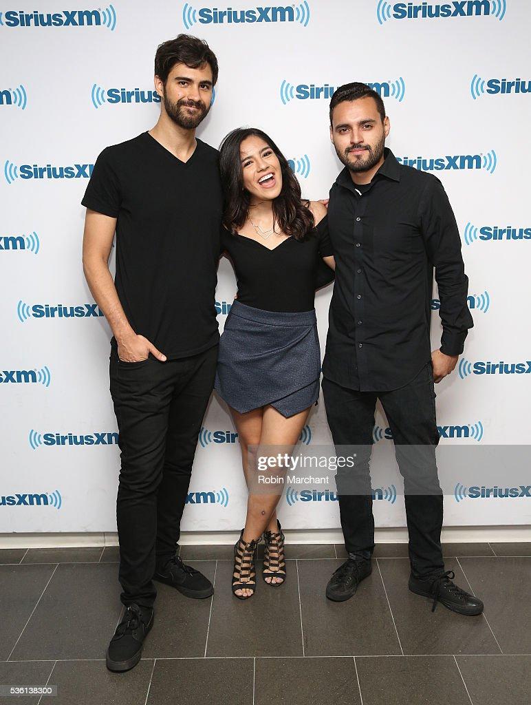 Catherine 'Cathia' Ochoa (C) visits at SiriusXM Studio on May 31, 2016 in New York City.