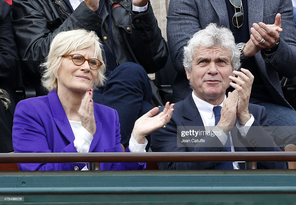 Catherine Ceylac and husband Claude Serillon attend day 8 of the French Open 2015 at Roland Garros stadium on May 31, 2015 in Paris, France.