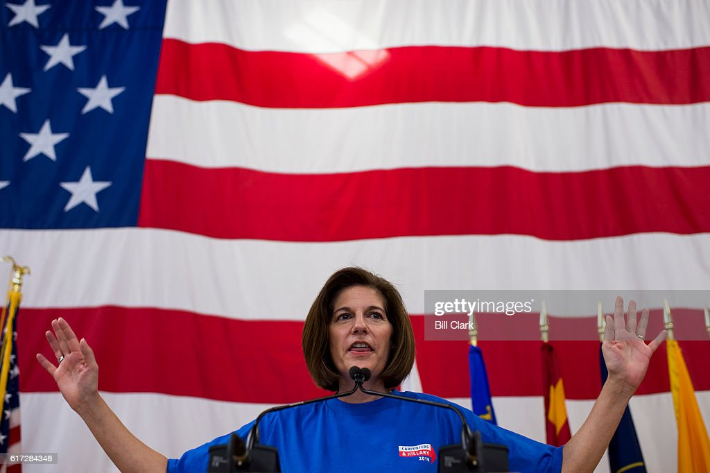 Catherine Cortez Masto, Democratic candidate for U.S. Senate from Nevada, speaks at the United Brotherhood of Carpenters early vote rally at the Carpenters Union Training Center in Las Vegas on the first day of early voting in Nevada on Saturday, Oct. 22, 2016.