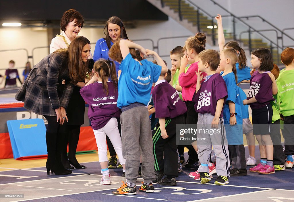 Catherine, Countess of Strathearn and Sadie Docherty, Lord Provost for Glasgow talk to children after a sports demonstration as they visit the Emirates Arena on April 4, 2013 in Glasgow, Scotland. The Emirates Arena will play host to several events at the 2014 Glasgow Commonwealth Games.