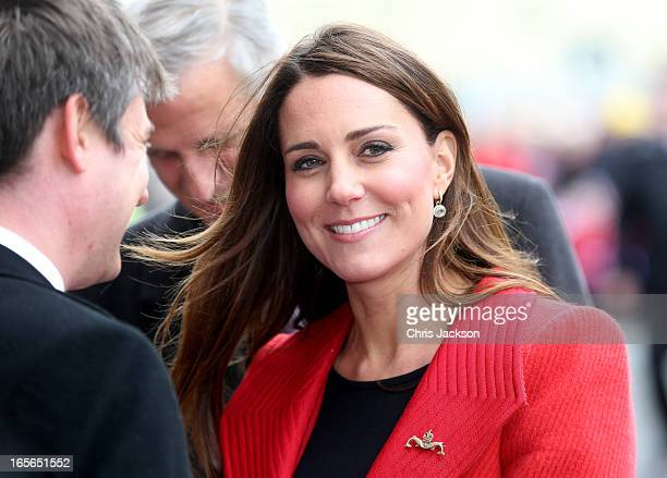Catherine Countess of Strathearn arrives at the Astuteclass Submarine Building at BAE Systems on April 5 2013 in BarrowinFurness United Kingdom The...