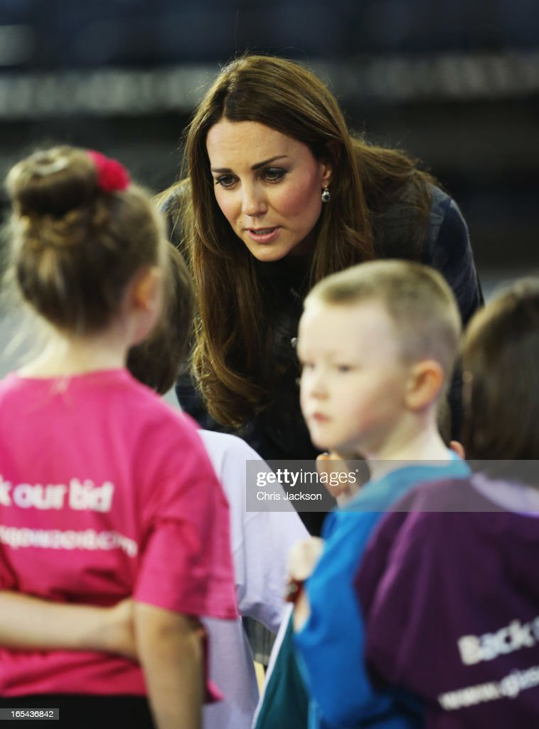 Catherine, Countess of Strathearn talks to children after a sports demonstration as they visit the Emirates Arena on April 4, 2013 in Glasgow, Scotland. The Emirates Arena will play host to several events at the 2014 Glasgow Commonwealth Games.