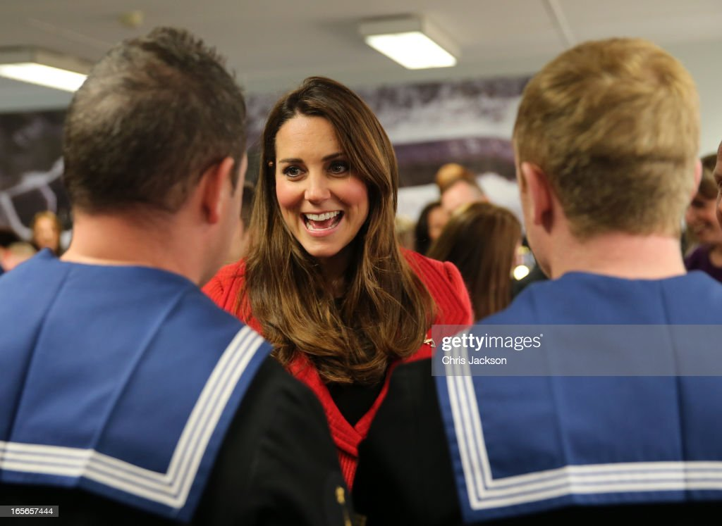 <a gi-track='captionPersonalityLinkClicked' href=/galleries/search?phrase=Catherine+-+Duchess+of+Cambridge&family=editorial&specificpeople=542588 ng-click='$event.stopPropagation()'>Catherine</a>, Countess of Strathearn talks to members of the crew as she visits the Astute-class Submarine Building at BAE Systems on April 5, 2013 in Barrow-in-Furness, United Kingdom. The Duke of Cambridge is Commodore-in-Chief of the Royal Navy Submarine Service and during their visit they will tour the offices of Vanguard replacement programme and meet with the crew of Artful and their families, who are now based in Barrow.