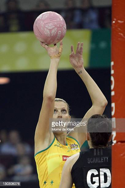 Catherine Cox of Australia shoots during the second Test Match between the Australian Diamonds and the New Zealand White Ferns at Adelaide Arena on...
