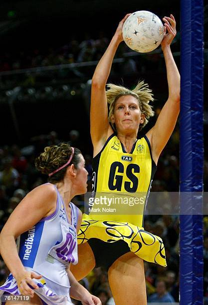 Catherine Cox of the Swifts catches the ball during the Commonwealth Bank Cup semifinal between the Sydney Swifts and the Adelaide Thunderbirds at...