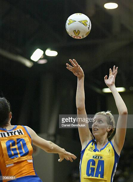Catherine Cox of the Swifts in action during the Commonwealth Bank Trophy netball match between the Sydney TAB Swifts and the Melbourne Kestrels at...