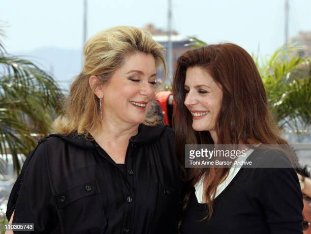 Catherine Deneuve and Chiara Mastroianni during 2007 Cannes Film Festival 'Persepolis' Photocall at Palais des Festival in Cannes France