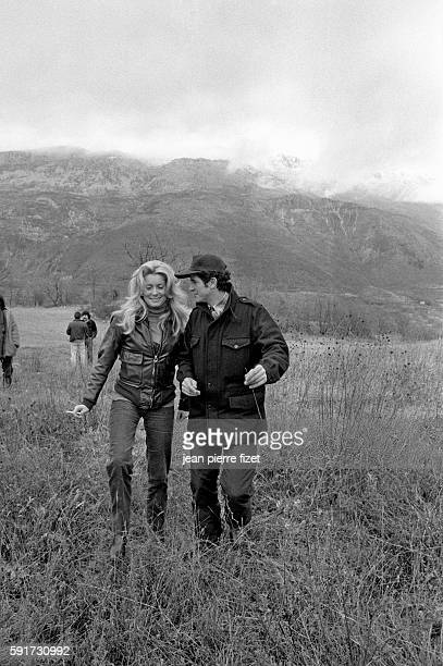 Catherine Deneuve and director Claude Lelouch on the set of Lelouch's 1979 film A Nous Deux