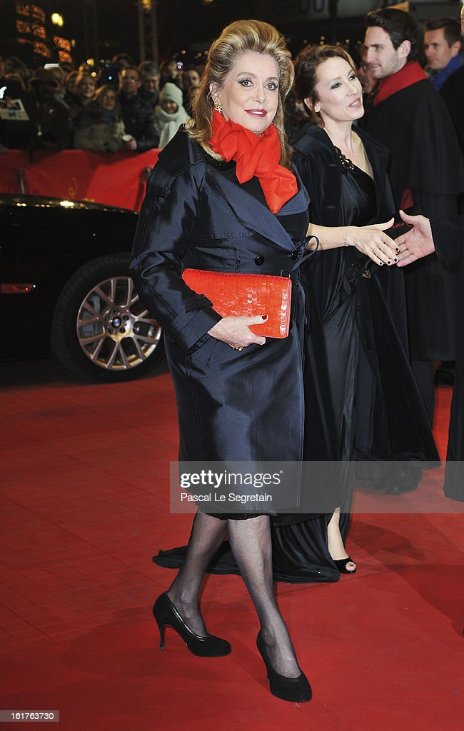 Catherine Deneuve (C) and director Emmanuelle Bercot attend the 'On My Way' Premiere during the 63rd Berlinale International Film Festival at Berlinale Palast on February 15, 2013 in Berlin, Germany.