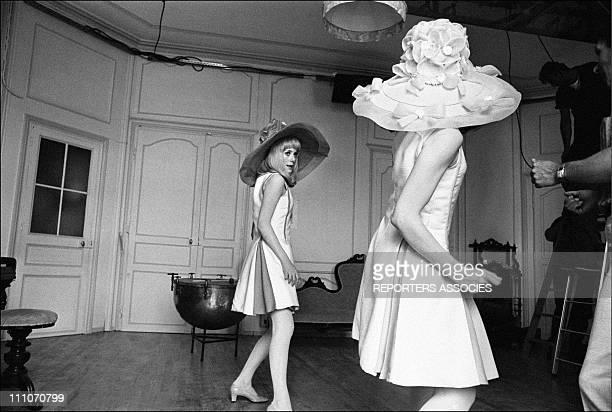 Catherine Deneuve and Francoise Dorleac dancing in shooting film ' Les Demoiselles de Rochefort' in Rochefort France on June 09 1966