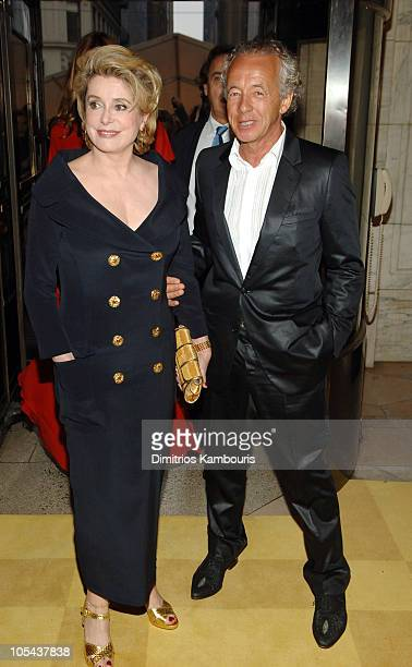 Catherine Deneuve and Gilles Bensimon during 2005 CFDA Fashion Awards Inside Arrivals at New York Public Library in New York City New York United...