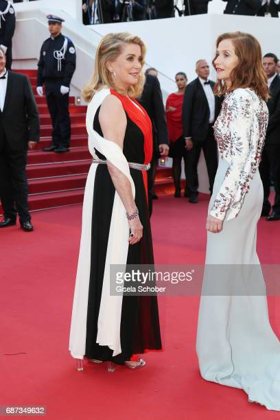 Catherine Deneuve and Isabelle Huppert attend the 70th Anniversary of the 70th annual Cannes Film Festival at Palais des Festivals on May 23 2017 in...