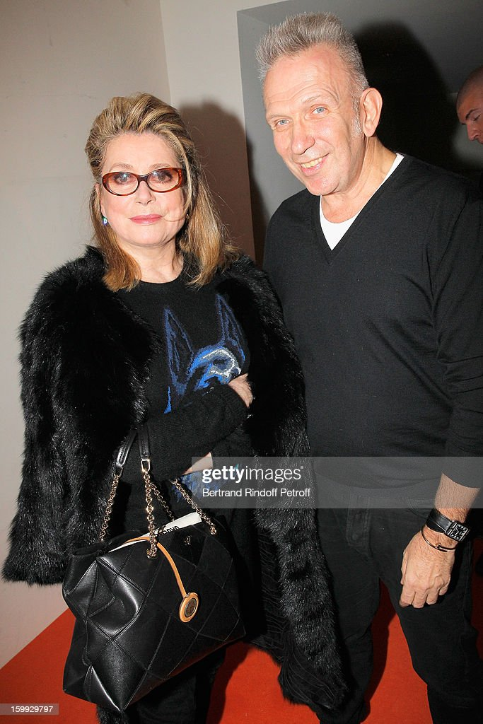 <a gi-track='captionPersonalityLinkClicked' href=/galleries/search?phrase=Catherine+Deneuve&family=editorial&specificpeople=123833 ng-click='$event.stopPropagation()'>Catherine Deneuve</a> and Jean-Paul Gaultier pose backstage following the Jean-Paul Gaultier Spring/Summer 2013 Haute-Couture show as part of Paris Fashion Week on January 23, 2013 in Paris, France.