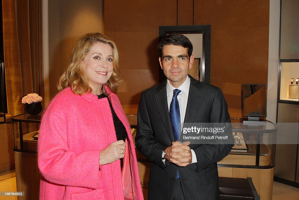 Catherine Deneuve and Jerome Lambert CEO of Jaeger LeCoultre attend JaegerLeCoultre Place Vendome Boutique Opening at JaegerLeCoultre Boutique on...