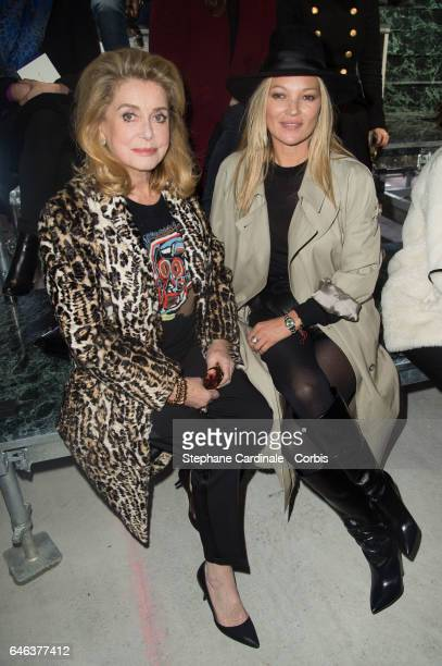 Catherine Deneuve and Kate Moss attend the Saint Laurent show as part of the Paris Fashion Week Womenswear Fall/Winter 2017/2018 on February 28 2017...