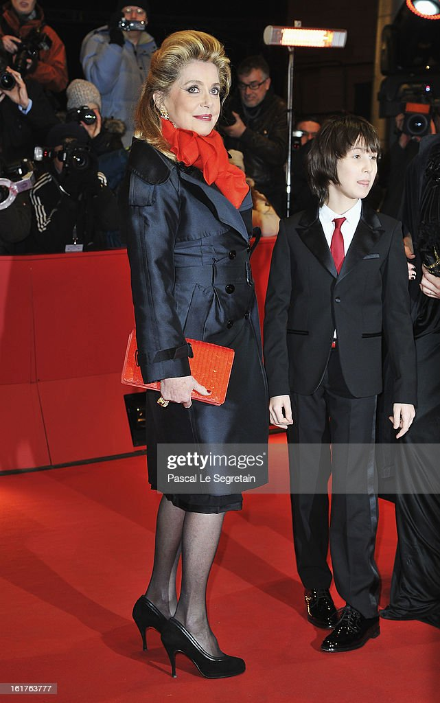 Catherine Deneuve and Nemo Schiffman attend the 'On My Way' Premiere during the 63rd Berlinale International Film Festival at Berlinale Palast on February 15, 2013 in Berlin, Germany.