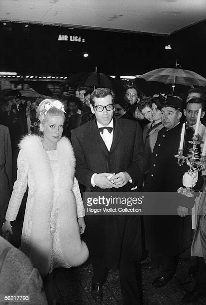 Catherine Deneuve and Roger Vadim during the opening of the film of Roger Vadim 'Castle in Sweden''Chateau en Suede' France 1963